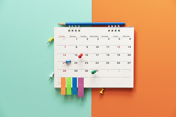 Calendar Showing Video Production Schedule Example