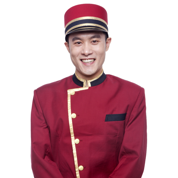 Hotel Bellhop Smiling for Video