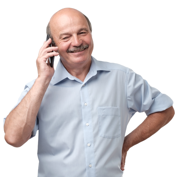 Senior Business Owner on Phone